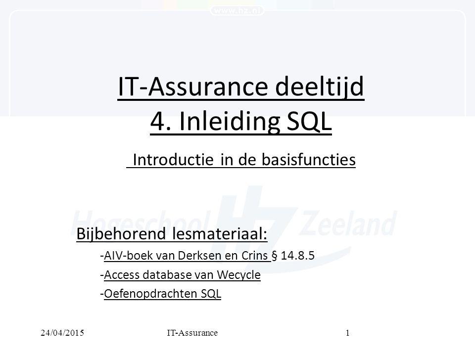 24/04/2015IT-Assurance1 IT-Assurance deeltijd 4.