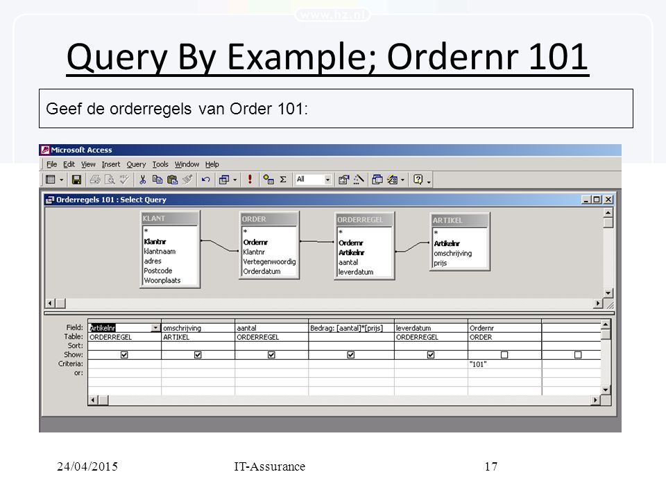 24/04/2015IT-Assurance17 Query By Example; Ordernr 101 Geef de orderregels van Order 101: