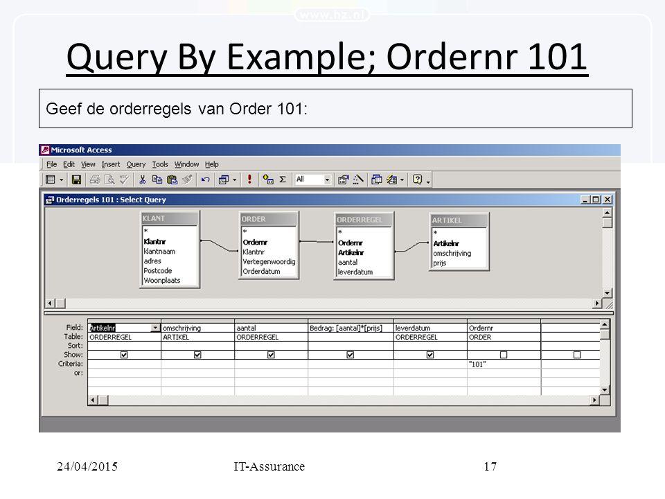24/04/2015IT-Assurance17 Query By Example; Ordernr 101 Geef de orderregels van Order 101: