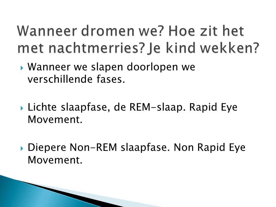  Wanneer we slapen doorlopen we verschillende fases.  Lichte slaapfase, de REM-slaap. Rapid Eye Movement.  Diepere Non-REM slaapfase. Non Rapid Eye