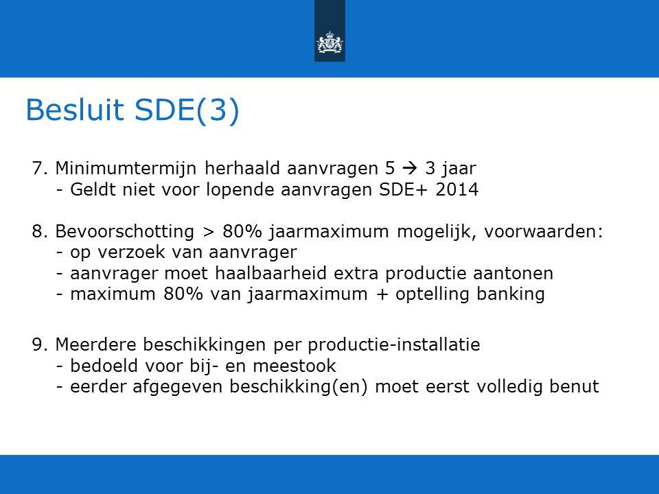 Besluit SDE(3) 7. Minimumtermijn herhaald aanvragen 5  3 jaar - Geldt niet voor lopende aanvragen SDE+ 2014 8. Bevoorschotting > 80% jaarmaximum moge