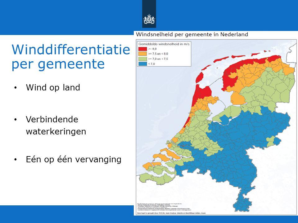 Winddifferentiatie per gemeente Wind op land Verbindende waterkeringen Eén op één vervanging