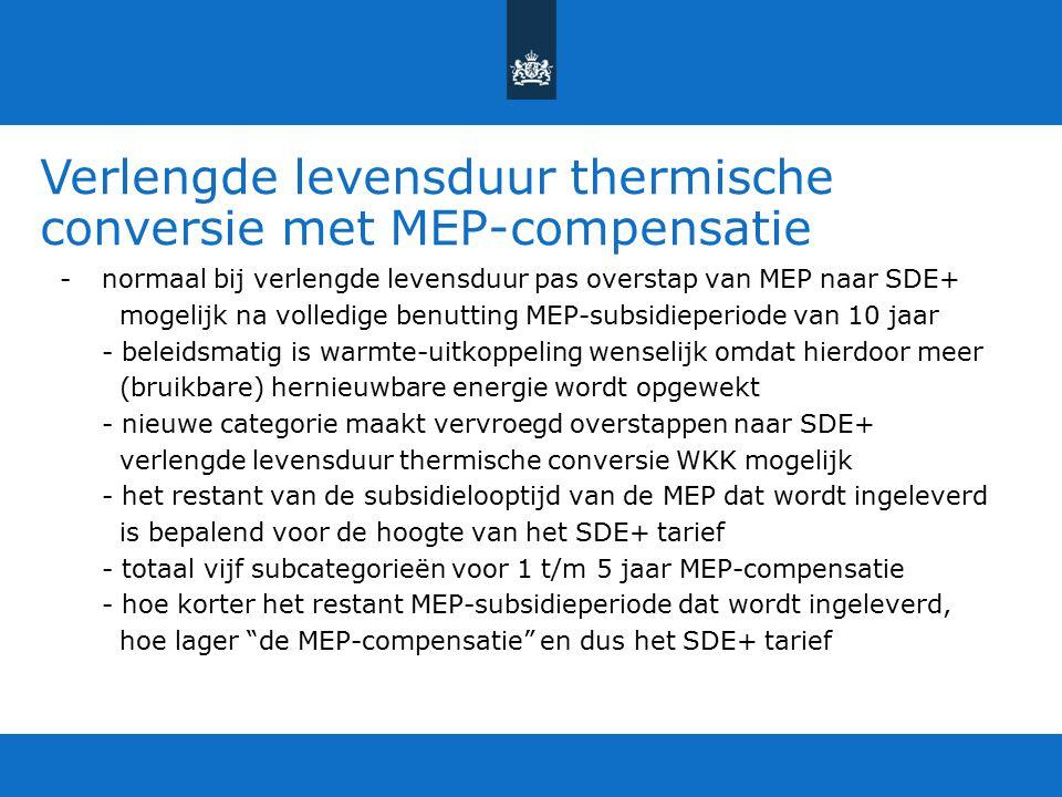 Verlengde levensduur thermische conversie met MEP-compensatie -normaal bij verlengde levensduur pas overstap van MEP naar SDE+ mogelijk na volledige b