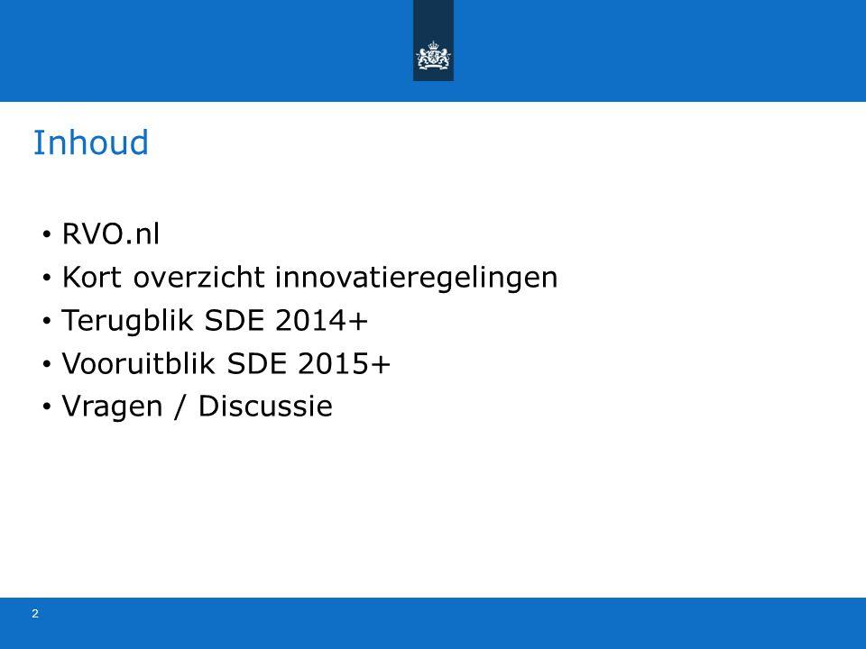 Inhoud 2 RVO.nl Kort overzicht innovatieregelingen Terugblik SDE 2014+ Vooruitblik SDE 2015+ Vragen / Discussie