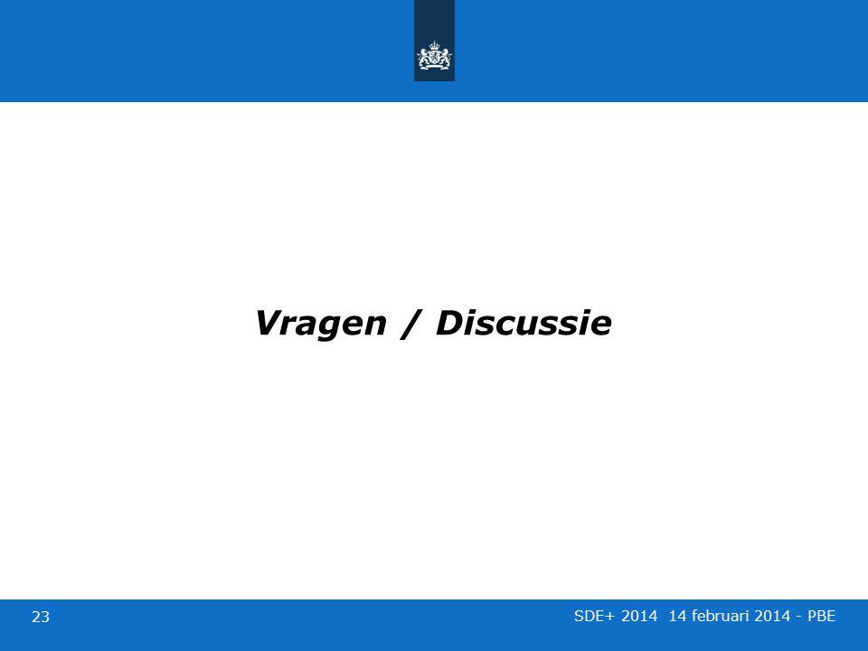Vragen / Discussie SDE+ 2014 14 februari 2014 - PBE 23
