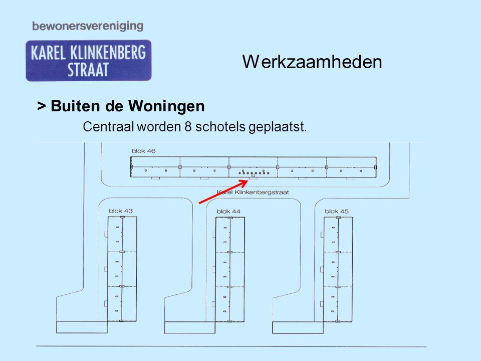 Werkzaamheden > Buiten de Woningen Centraal worden 8 schotels geplaatst.