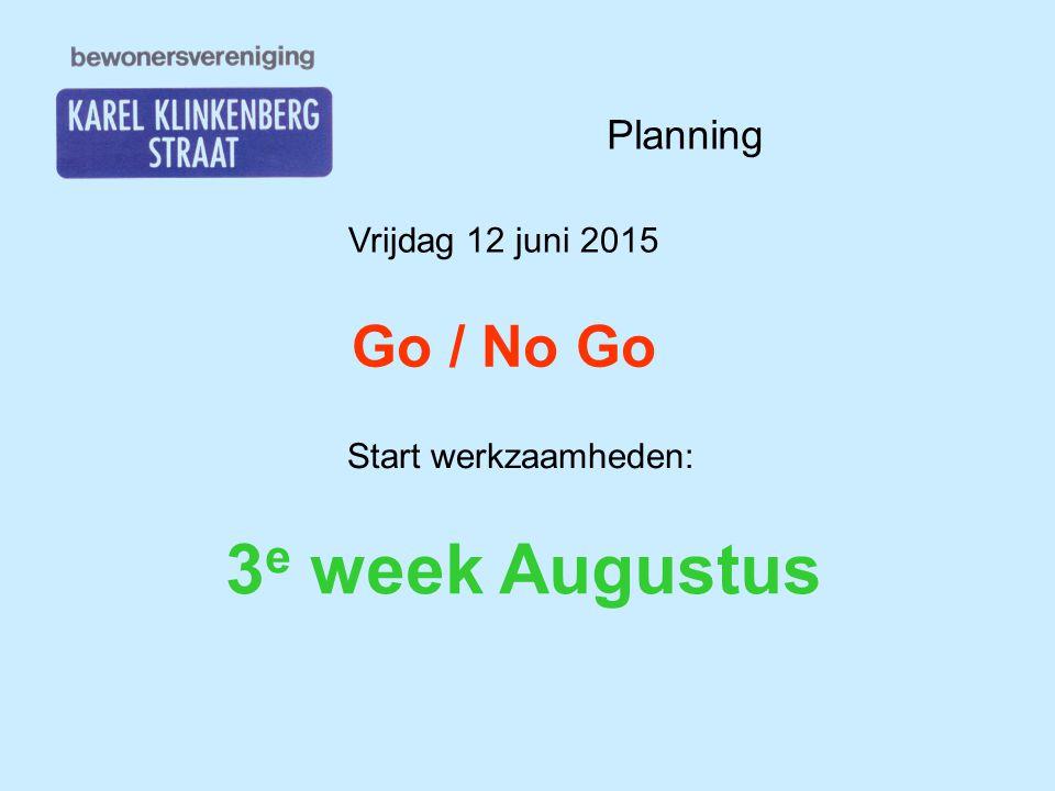 Vrijdag 12 juni 2015 Go / No Go Start werkzaamheden: 3 e week Augustus