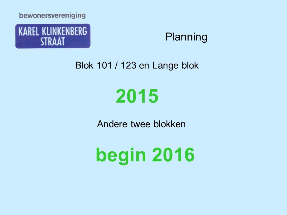 Planning Blok 101 / 123 en Lange blok 2015 Andere twee blokken begin 2016