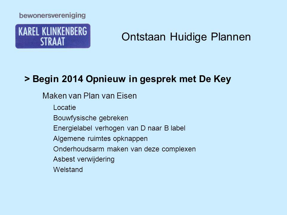 Ontstaan Huidige Plannen > Begin 2014 Opnieuw in gesprek met De Key Maken van Plan van Eisen Locatie Bouwfysische gebreken Energielabel verhogen van D