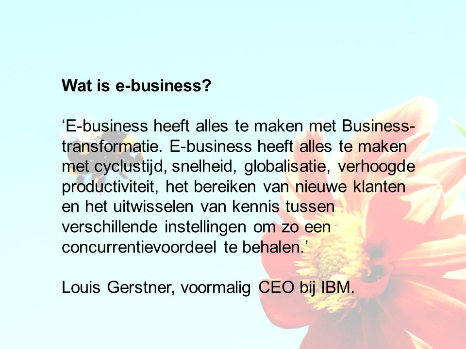 Wat is e-business. 'E-business heeft alles te maken met Business- transformatie.