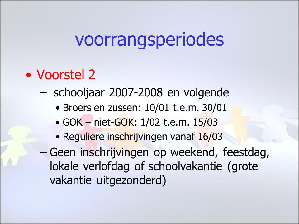 voorrangsperiodes Voorstel 2 – schooljaar 2007-2008 en volgende Broers en zussen: 10/01 t.e.m.