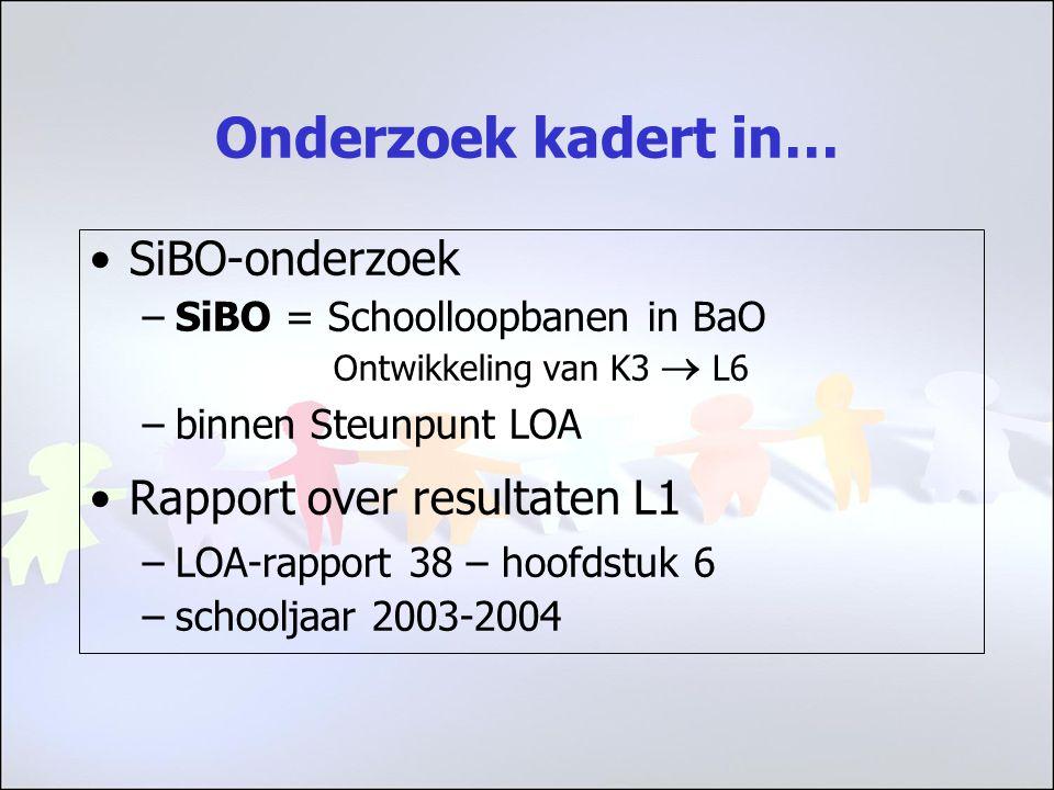 Onderzoek kadert in… SiBO-onderzoek –SiBO = Schoolloopbanen in BaO Ontwikkeling van K3  L6 –binnen Steunpunt LOA Rapport over resultaten L1 –LOA-rapport 38 – hoofdstuk 6 –schooljaar 2003-2004