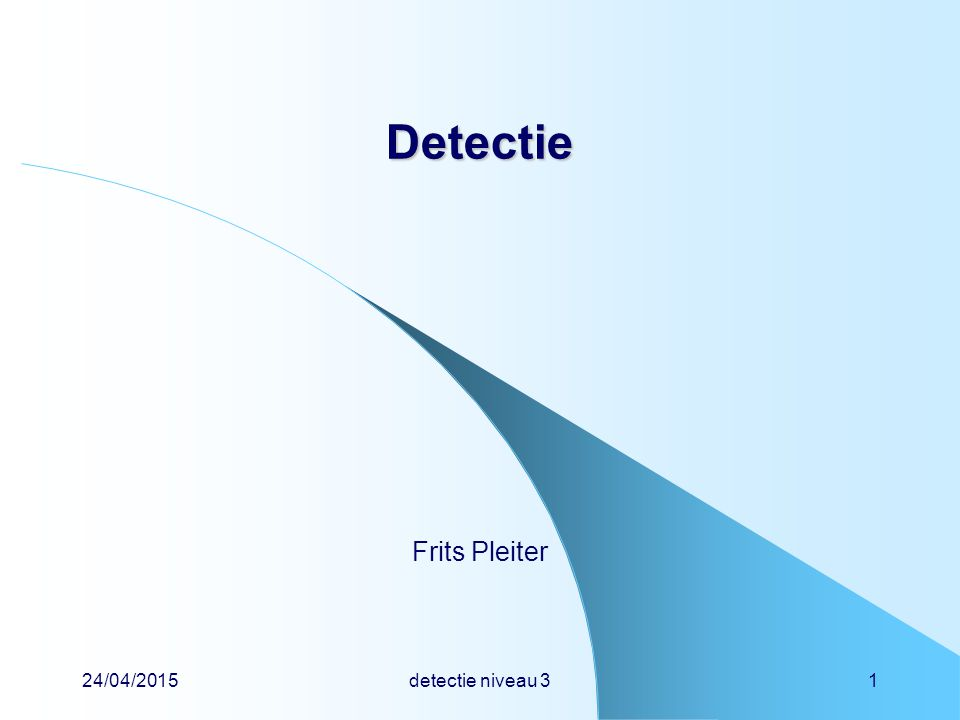 24/04/2015detectie niveau 322 Detectie Detectie nieuwe ontwikkeling elektrodes SiO 2 Si + ++ + ++ + CCD = charge coupled device lading wordt direct (ioniserende straling) of indirect (licht van een fluorescentiescherm) gevormd door de spanning op de elektrodes slim te manipuleren kan ionisatie- lading onder elke elektrode naar buiten worden getransporteerd en door een computer uitgelezen heet ook wel emmertjesgeheugen vervanger van fotomultiplicatorbuis