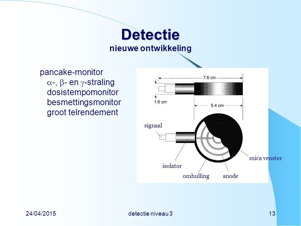 24/04/2015detectie niveau 313 Detectie Detectie nieuwe ontwikkeling pancake-monitor  -,  - en  -straling dosistempomonitor besmettingsmonitor groot