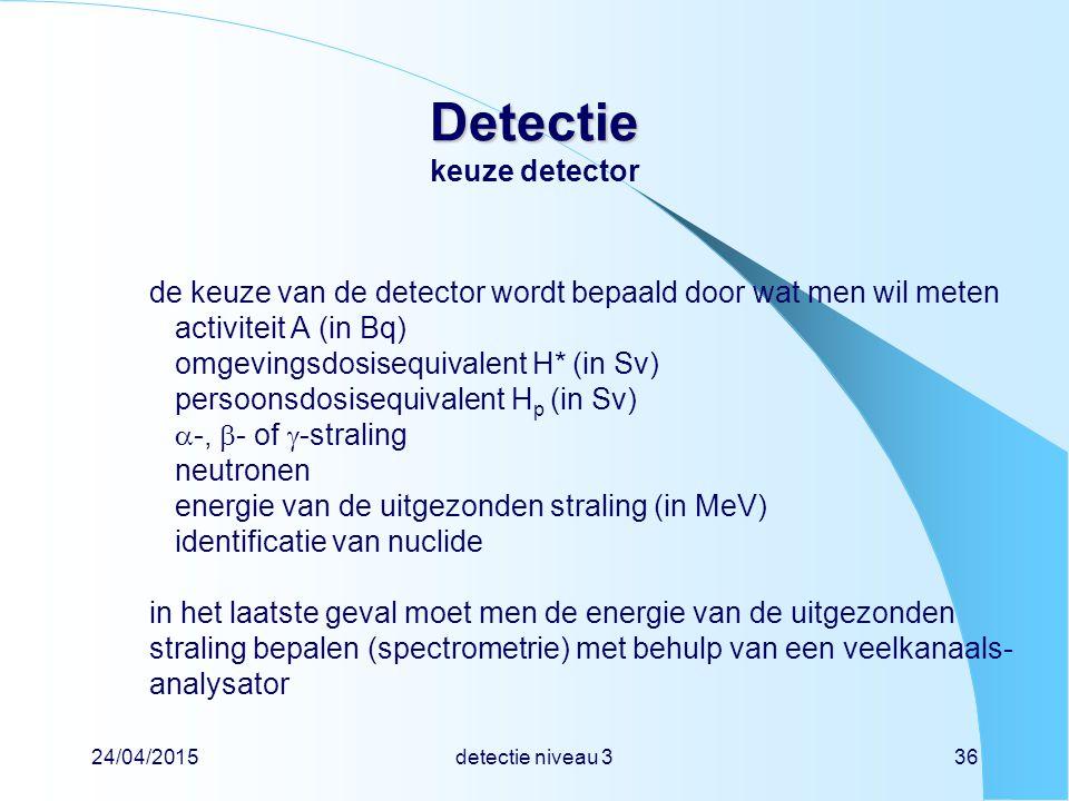 24/04/2015detectie niveau 336 Detectie Detectie keuze detector de keuze van de detector wordt bepaald door wat men wil meten activiteit A (in Bq) omge