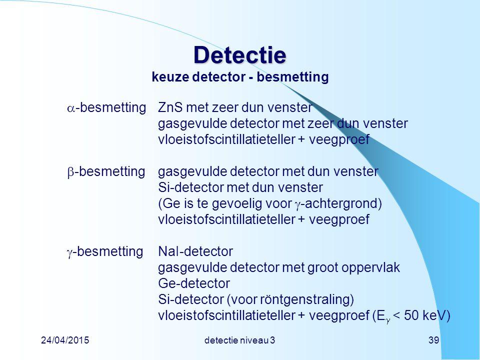 24/04/2015detectie niveau 339 Detectie Detectie keuze detector - besmetting  -besmettingZnS met zeer dun venster gasgevulde detector met zeer dun ven
