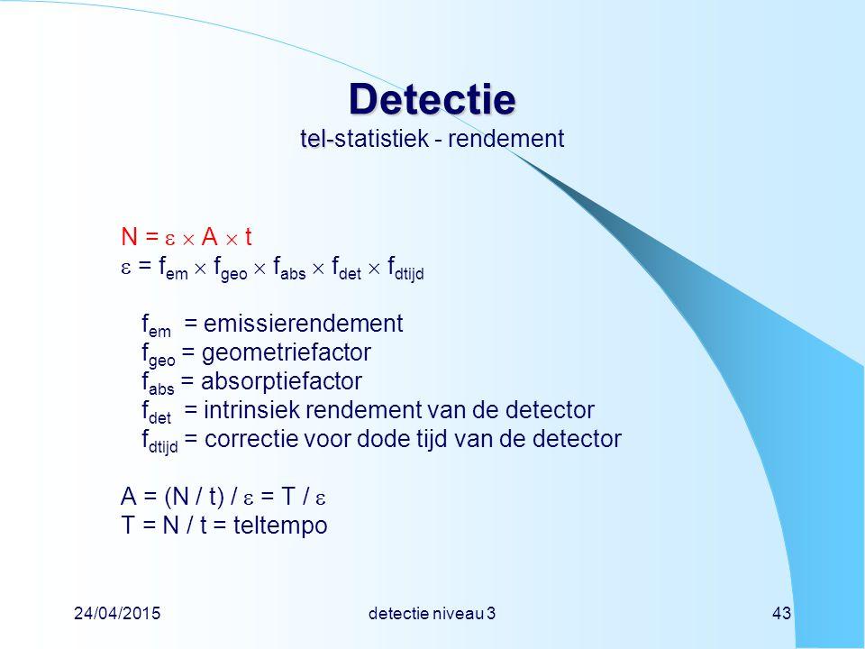 24/04/2015detectie niveau 343 Detectie tel- Detectie tel-statistiek - rendement N =   A  t  = f em  f geo  f abs  f det  f dtijd f em = emissi