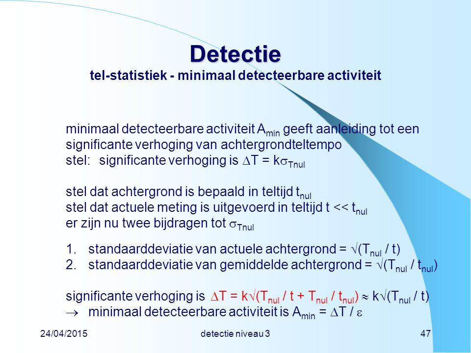 24/04/2015detectie niveau 347 Detectie Detectie tel-statistiek - minimaal detecteerbare activiteit minimaal detecteerbare activiteit A min geeft aanle