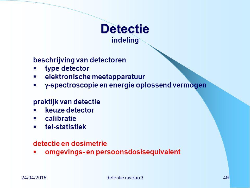 24/04/2015detectie niveau 349 Detectie Detectie indeling beschrijving van detectoren  type detector  elektronische meetapparatuur   -spectroscopie