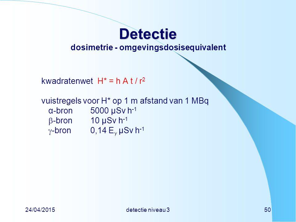 24/04/2015detectie niveau 350 Detectie Detectie dosimetrie - omgevingsdosisequivalent kwadratenwetH* = h A t / r 2 vuistregels voor H* op 1 m afstand