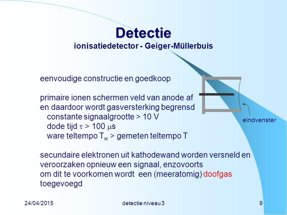 24/04/2015detectie niveau 340 Detectie Detectie keuze detector - besmetting besmettingsmonitor wijst aan in telpulsen per tijdseenheid soms (maar niet altijd) geeft fabrikant calibratie voor een aantal nuclidenmeestal in Bq cm -2 soms ook in Bq calibratiefactor gaat uit van een homogene besmetting over het hele oppervlak van de besmettingsmonitor, ook als dat niet zo is stel:oppervlak van monitor = 100 cm 2 aanwijzing van monitor = 4 Bq cm -2  totale activiteit = 100 cm 2  4 Bq cm -2 = 400 Bq stel:oppervlak van besmetting = 10 cm 2  besmetting = 400 Bq / 10 cm 2 = 40 Bq cm -2