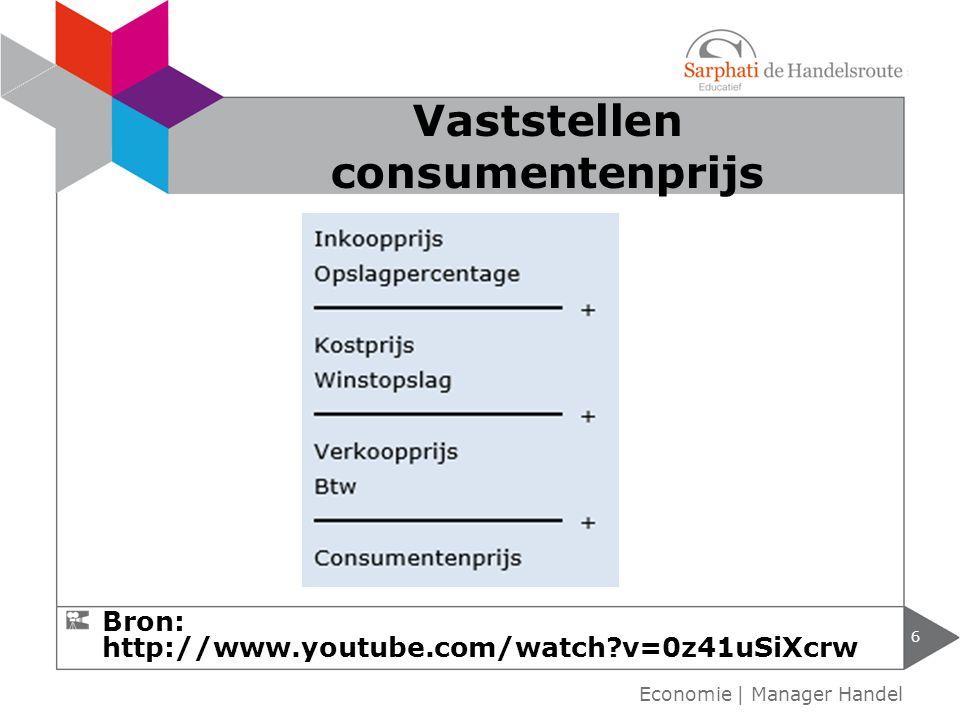 6 Vaststellen consumentenprijs Bron: http://www.youtube.com/watch?v=0z41uSiXcrw Economie | Manager Handel