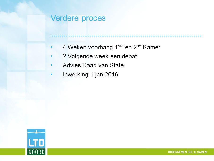 Verdere proces 4 Weken voorhang 1 ste en 2 de Kamer ? Volgende week een debat Advies Raad van State Inwerking 1 jan 2016