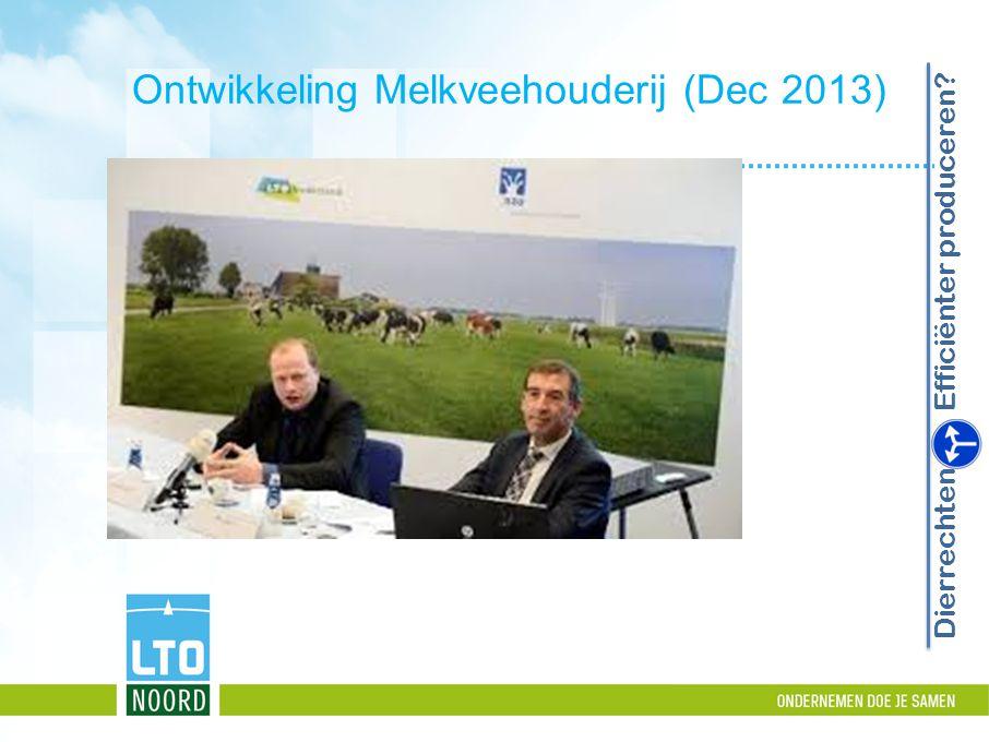 Ontwikkeling Melkveehouderij (Dec 2013) Dierrechten Efficiënter produceren?