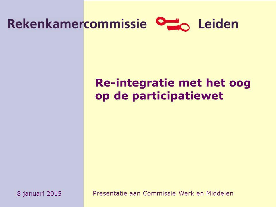 Re-integratie met het oog op de participatiewet 8 januari 2015 Presentatie aan Commissie Werk en Middelen