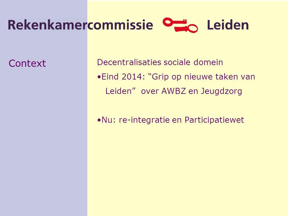 Context Decentralisaties sociale domein Eind 2014: Grip op nieuwe taken van Leiden over AWBZ en Jeugdzorg Nu: re-integratie en Participatiewet