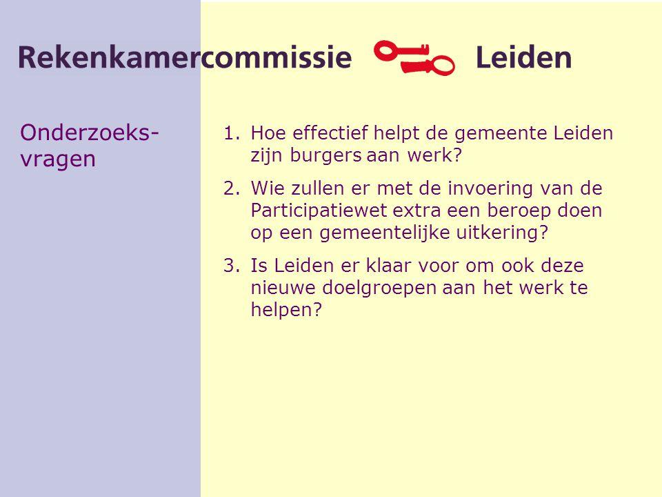 Onderzoeks- vragen 1.Hoe effectief helpt de gemeente Leiden zijn burgers aan werk? 2.Wie zullen er met de invoering van de Participatiewet extra een b