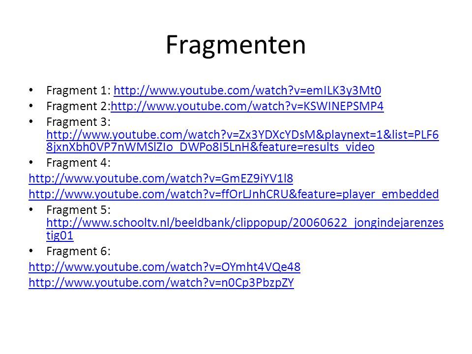 Fragmenten Fragment 1: http://www.youtube.com/watch?v=emILK3y3Mt0http://www.youtube.com/watch?v=emILK3y3Mt0 Fragment 2:http://www.youtube.com/watch?v=KSWINEPSMP4http://www.youtube.com/watch?v=KSWINEPSMP4 Fragment 3: http://www.youtube.com/watch?v=Zx3YDXcYDsM&playnext=1&list=PLF6 8jxnXbh0VP7nWMSlZIo_DWPo8I5LnH&feature=results_video http://www.youtube.com/watch?v=Zx3YDXcYDsM&playnext=1&list=PLF6 8jxnXbh0VP7nWMSlZIo_DWPo8I5LnH&feature=results_video Fragment 4: http://www.youtube.com/watch?v=GmEZ9iYV1l8 http://www.youtube.com/watch?v=ffOrLJnhCRU&feature=player_embedded Fragment 5: http://www.schooltv.nl/beeldbank/clippopup/20060622_jongindejarenzes tig01 http://www.schooltv.nl/beeldbank/clippopup/20060622_jongindejarenzes tig01 Fragment 6: http://www.youtube.com/watch?v=OYmht4VQe48 http://www.youtube.com/watch?v=n0Cp3PbzpZY