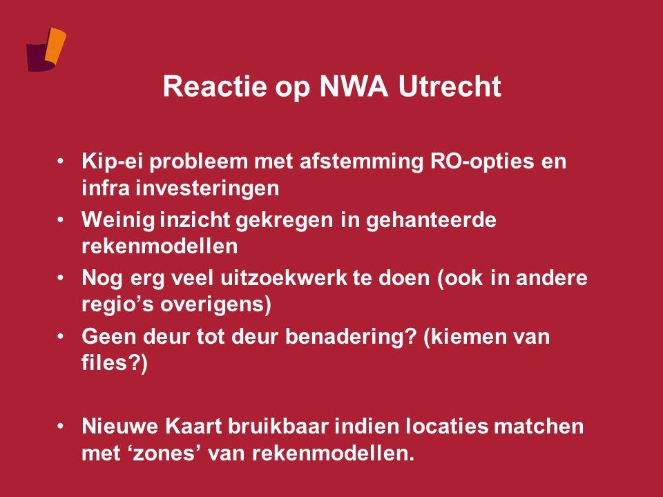 Reactie op NWA Utrecht Kip-ei probleem met afstemming RO-opties en infra investeringen Weinig inzicht gekregen in gehanteerde rekenmodellen Nog erg veel uitzoekwerk te doen (ook in andere regio's overigens) Geen deur tot deur benadering.
