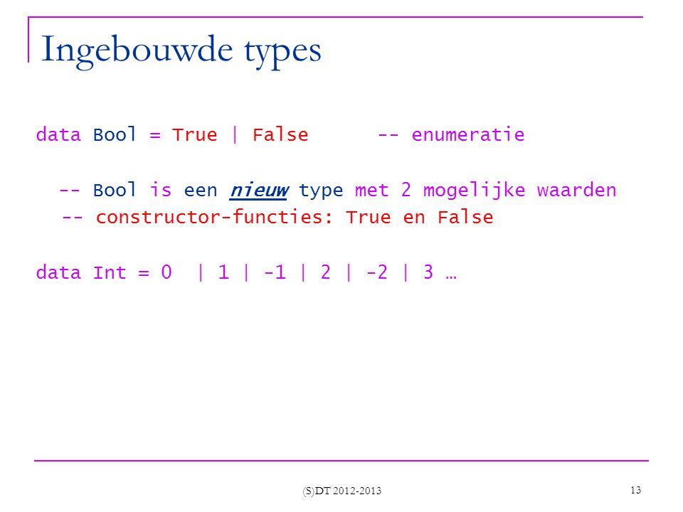 (S)DT 2012-2013 13 Ingebouwde types data Bool = True | False -- enumeratie -- Bool is een nieuw type met 2 mogelijke waarden -- constructor-functies: True en False data Int = 0 | 1 | -1 | 2 | -2 | 3 …
