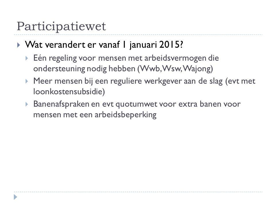 Participatiewet  Wat verandert er vanaf 1 januari 2015.
