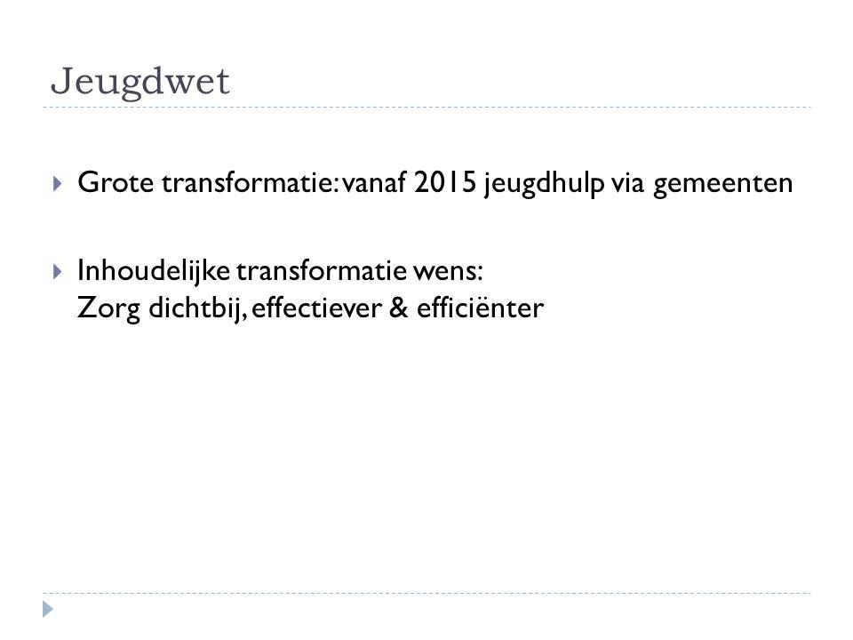 Jeugdwet  Grote transformatie: vanaf 2015 jeugdhulp via gemeenten  Inhoudelijke transformatie wens: Zorg dichtbij, effectiever & efficiënter