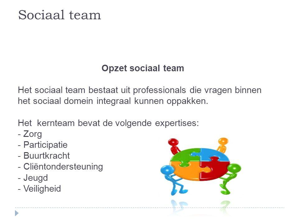 Opzet sociaal team Het sociaal team bestaat uit professionals die vragen binnen het sociaal domein integraal kunnen oppakken.