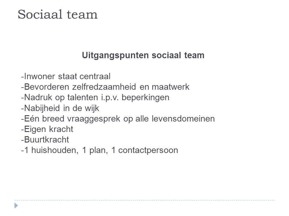 Uitgangspunten sociaal team -Inwoner staat centraal -Bevorderen zelfredzaamheid en maatwerk -Nadruk op talenten i.p.v.