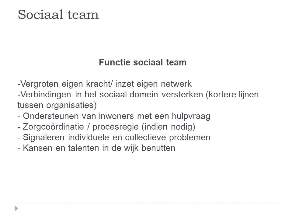 Functie sociaal team -Vergroten eigen kracht/ inzet eigen netwerk -Verbindingen in het sociaal domein versterken (kortere lijnen tussen organisaties) - Ondersteunen van inwoners met een hulpvraag - Zorgcoördinatie / procesregie (indien nodig) - Signaleren individuele en collectieve problemen - Kansen en talenten in de wijk benutten Sociaal team