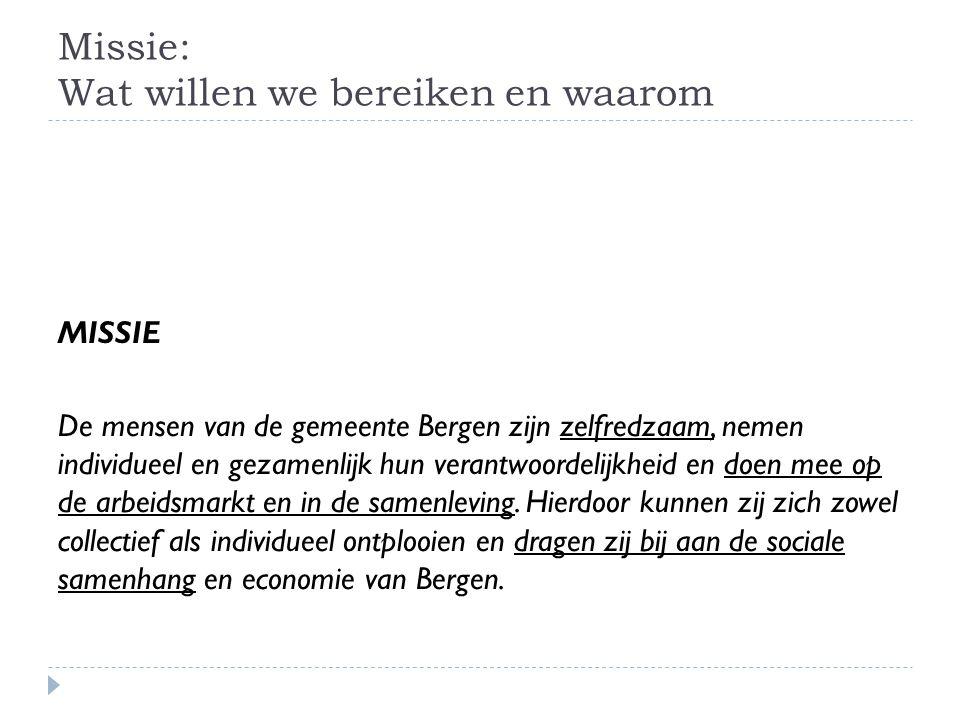 Missie: Wat willen we bereiken en waarom MISSIE De mensen van de gemeente Bergen zijn zelfredzaam, nemen individueel en gezamenlijk hun verantwoordelijkheid en doen mee op de arbeidsmarkt en in de samenleving.