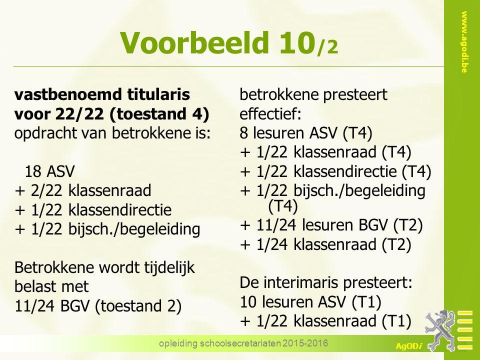 www.agodi.be AgODi Voorbeeld 10 /2 vastbenoemd titularis voor 22/22 (toestand 4) opdracht van betrokkene is: 18 ASV + 2/22 klassenraad + 1/22 klassend