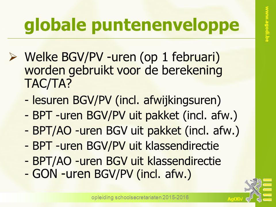 www.agodi.be AgODi opleiding schoolsecretariaten 2015-2016 globale puntenenveloppe  Welke BGV/PV -uren (op 1 februari) worden gebruikt voor de bereke