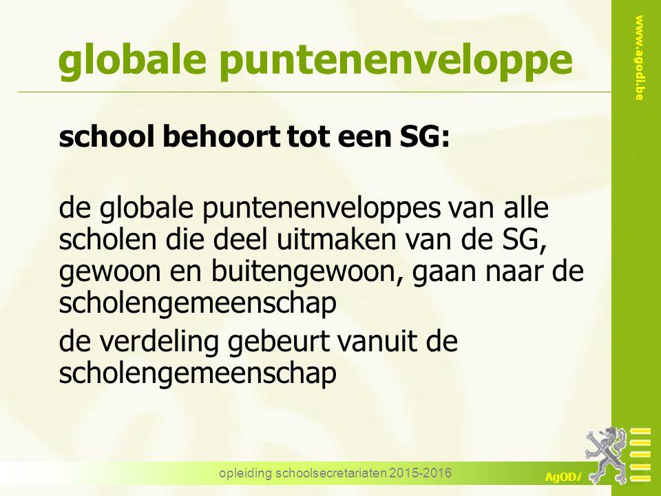 www.agodi.be AgODi opleiding schoolsecretariaten 2015-2016 globale puntenenveloppe school behoort tot een SG: de globale puntenenveloppes van alle sch