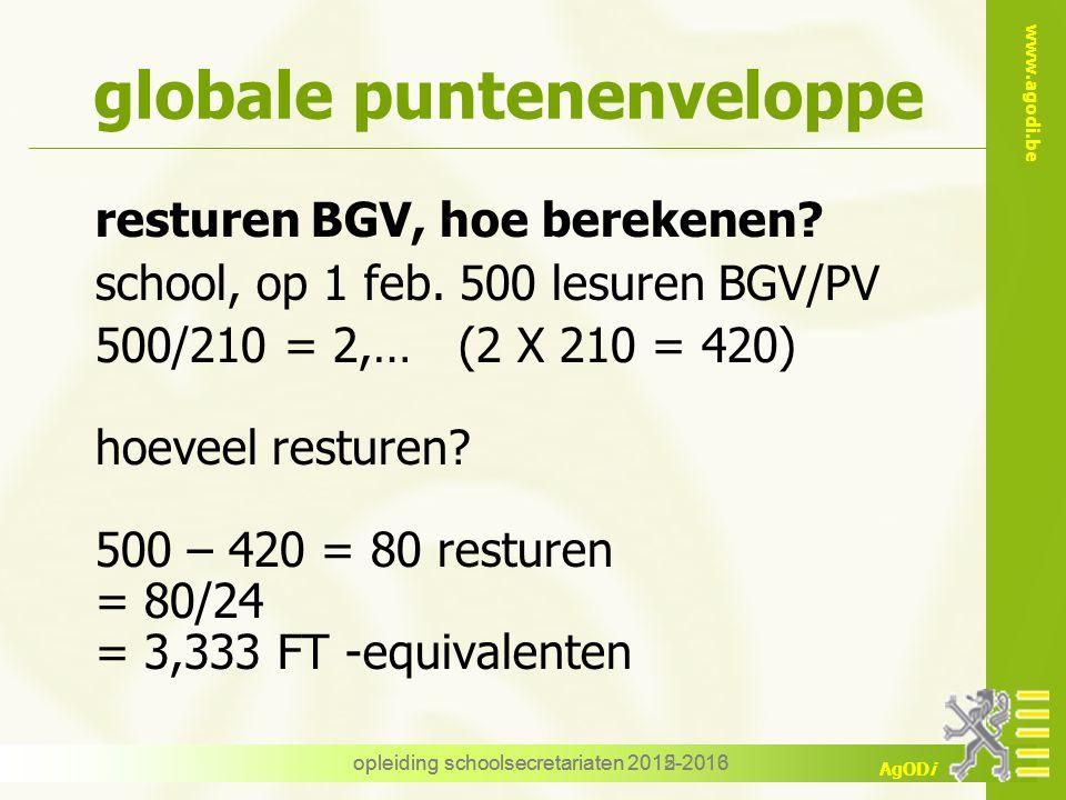 www.agodi.be AgODi opleiding schoolsecretariaten 2012-2013 globale puntenenveloppe resturen BGV, hoe berekenen? school, op 1 feb. 500 lesuren BGV/PV 5