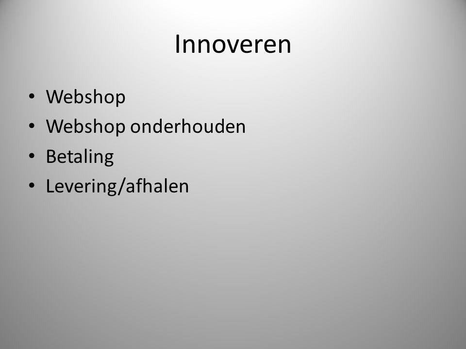 Innoveren Webshop Webshop onderhouden Betaling Levering/afhalen