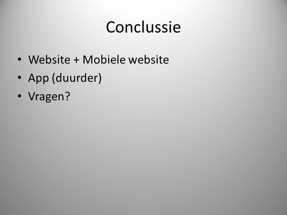Conclussie Website + Mobiele website App (duurder) Vragen?