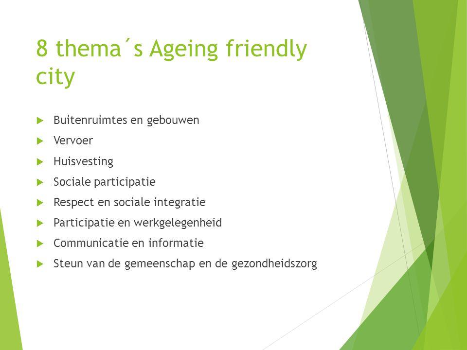 8 thema´s Ageing friendly city  Buitenruimtes en gebouwen  Vervoer  Huisvesting  Sociale participatie  Respect en sociale integratie  Participat