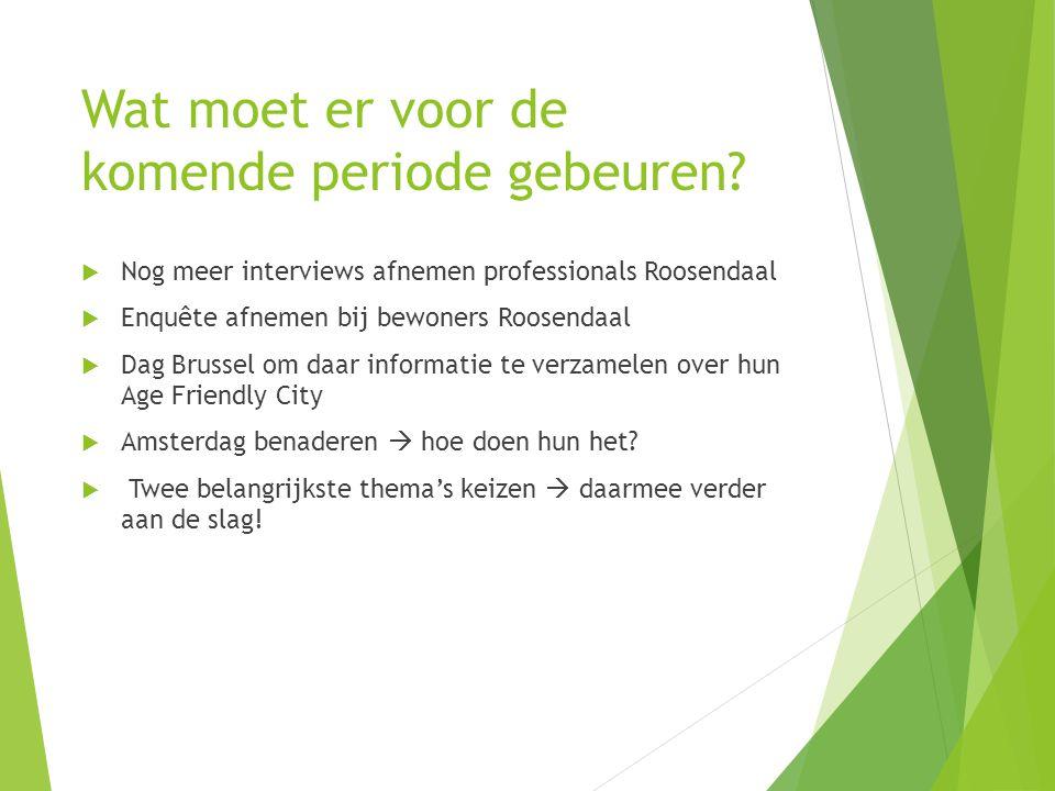 Wat moet er voor de komende periode gebeuren?  Nog meer interviews afnemen professionals Roosendaal  Enquête afnemen bij bewoners Roosendaal  Dag B