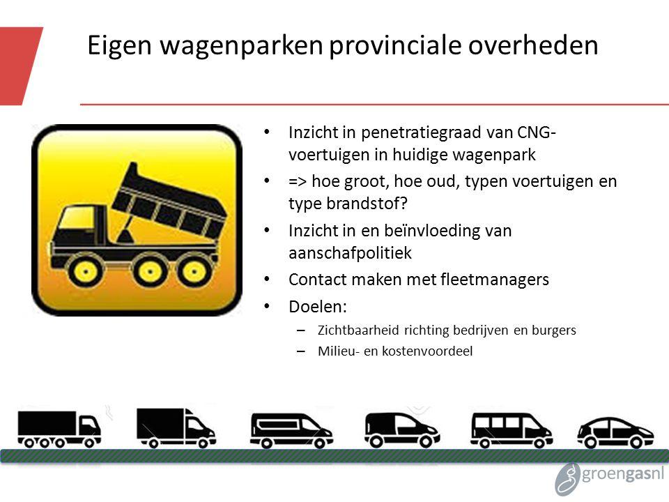 Eigen wagenparken provinciale overheden Inzicht in penetratiegraad van CNG- voertuigen in huidige wagenpark => hoe groot, hoe oud, typen voertuigen en type brandstof.