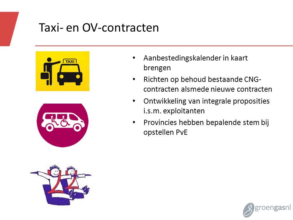 Taxi- en OV-contracten Aanbestedingskalender in kaart brengen Richten op behoud bestaande CNG- contracten alsmede nieuwe contracten Ontwikkeling van integrale proposities i.s.m.